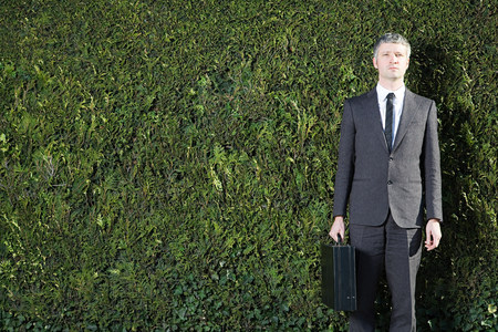 Businessman in front of hedge 写真素材