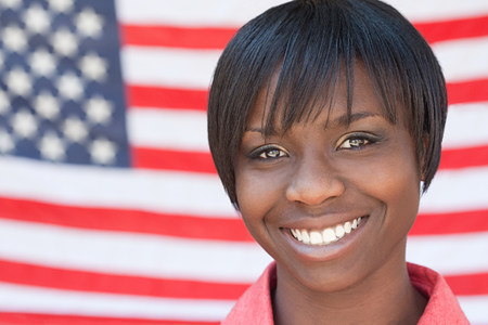 Young woman and american flag