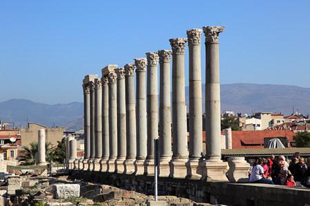 Roman columns of agora in izmir turkey Editorial