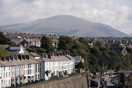 Caernarfon with Snowdonia in the background, Wales