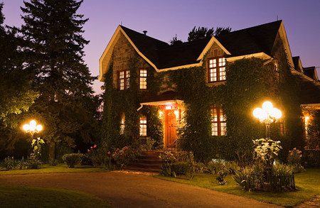 Detached house with lights
