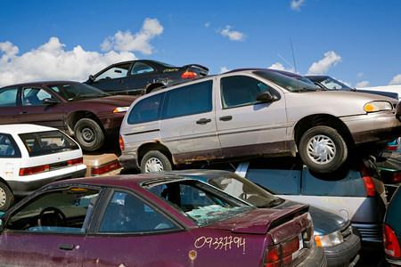 Cars in scrap yard