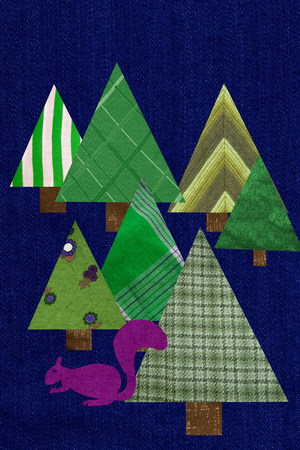 Triangular shaped trees and squirrel Stock Photo