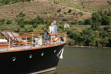 Senior couple on holiday on boat