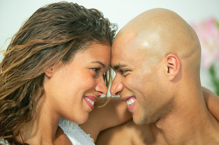 Loving couple face to face