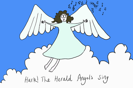 Angel singing hark the herald angels sing, illustration