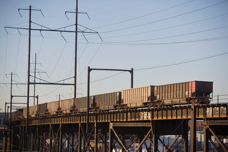 Freight train, Benjamin Franklin Bridge, Philadelphia, USA