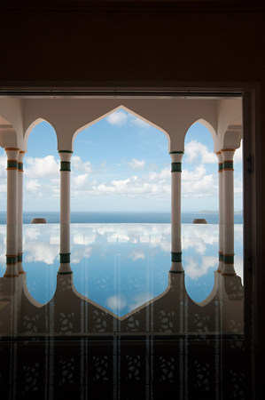 Infinity pool, Mustique, Grenadine Islands Stock Photo