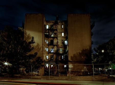 Apartment block at night, Williamsburg, Brooklyn, New York