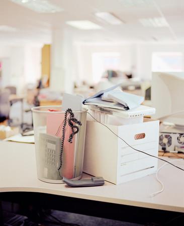 Messy desk in an office