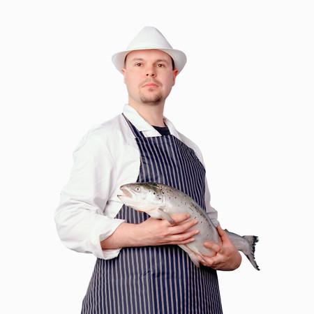 Fishmonger close up background.