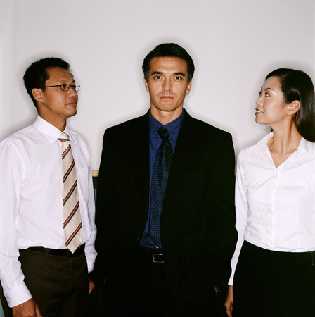Three business people close up