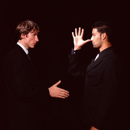Jokey handshake background.