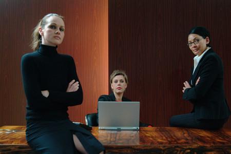 Businesswomen in boardroom 스톡 콘텐츠