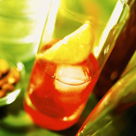 Lemon inside the drink.