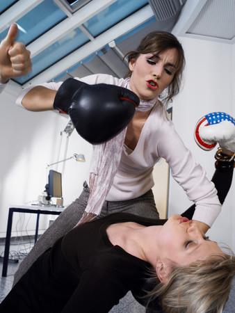 Female colleagues boxing Reklamní fotografie