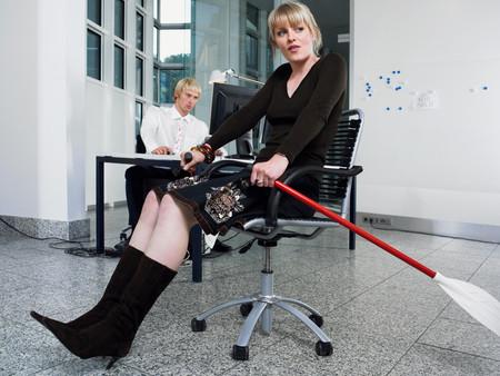 Woman rowing in office