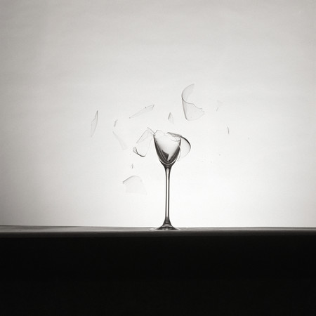 Shattered wine glass