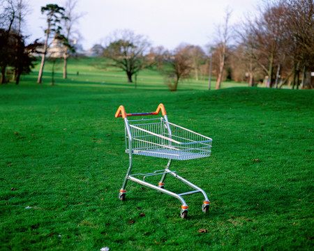 Shopping trolley left in park