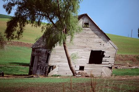 Derelict wooden barn Imagens