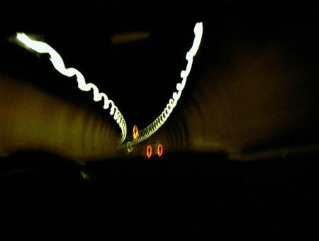 Blurred automobile in tunnel