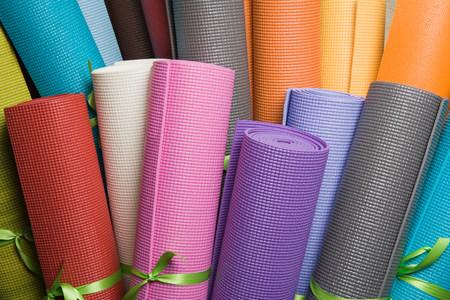 Yoga mats background.