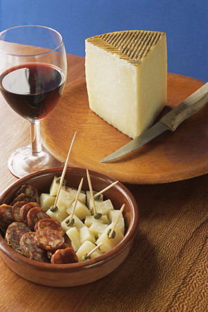 Cheese chorizo and a glass of wine