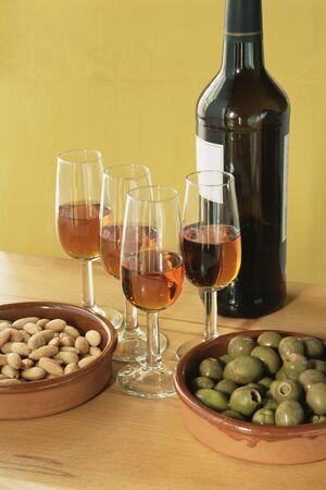 Sherry almonds and olives Stock fotó