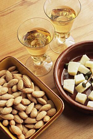 Sherry almonds and manchego cheese
