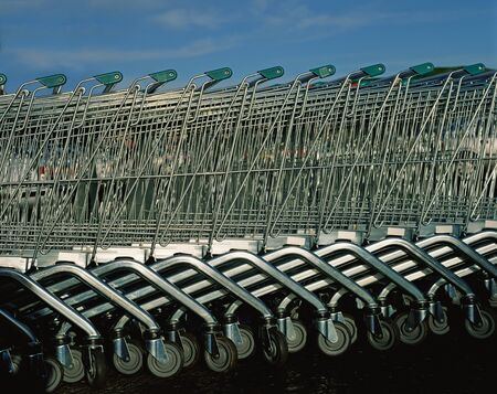 A row of supermarket trolleys
