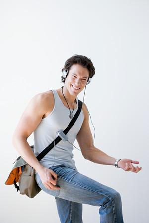 Man playing air guitar