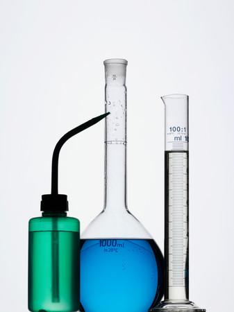 Bottle and volumetric flasks Stockfoto