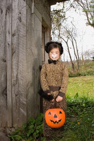 Girl in a cat costume Stock fotó