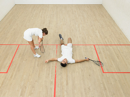 Exhausted squash players