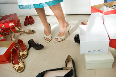 Woman trying shoes on