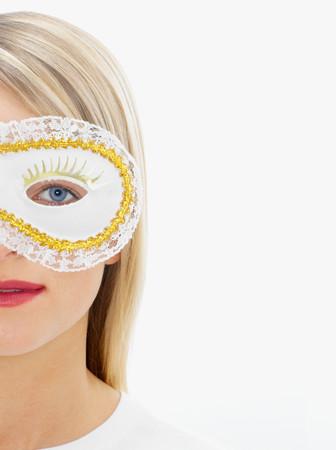 Woman wearing an eye mask