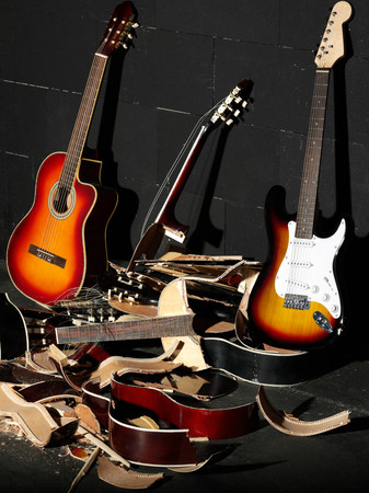 Guitars and smashed guitars