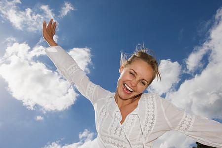 Exhilarated woman Stok Fotoğraf