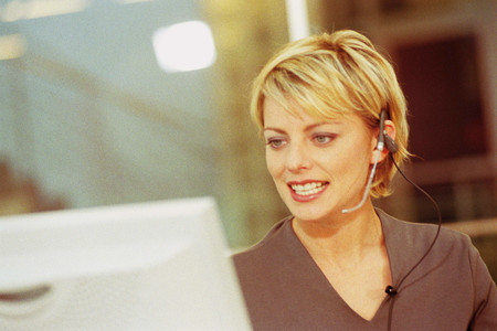 Mujer, con, auricular