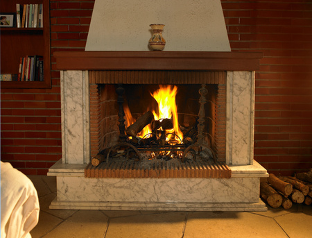 Log fire burning in fireplace