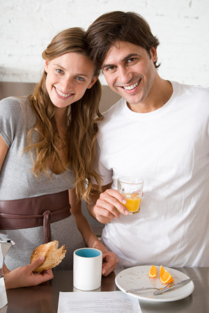 Portrait of a couple having breakfast Stock Photo