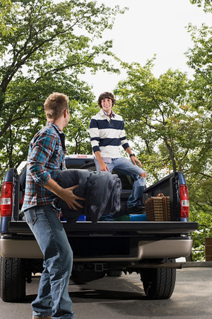 Friends and pick up truck Stock Photo