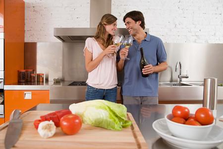 A couple having wine Stock Photo