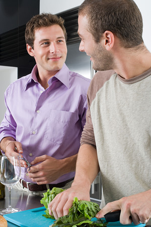 Gay couple in kitchen