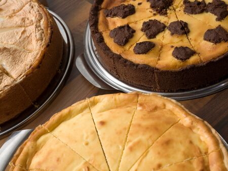 Three assorted cakes on a table Stock Photo