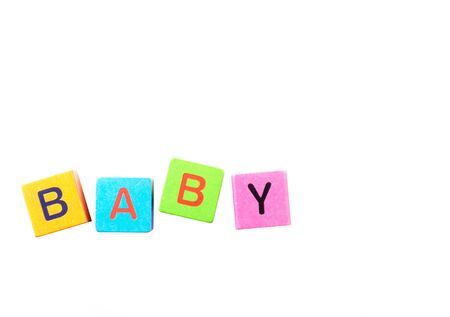 Building blocks spelling baby