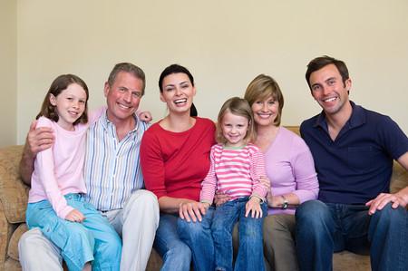 Three generation family on sofa