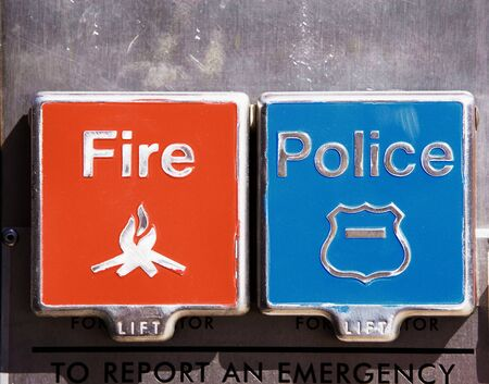 Fire and police alarm boxes Imagens