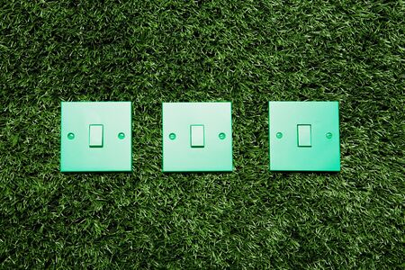 Green light switches on a grass