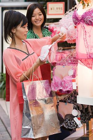 Friends shopping for lingerie